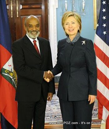 Hillary Clinton And Haiti President Rene Preval In Washington