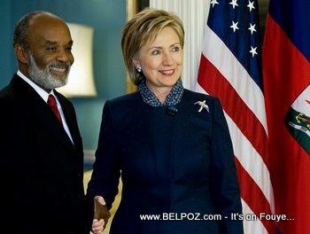 Hillary Clinton And Haiti President Rene Preval In Washington