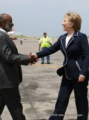 Haiti President Rene Preval Greets US Secretary Of State Hillary Clinton At Haiti Airport