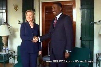 Hillary Clinton And Jude Celestin In Haiti