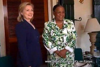 Hillary Clinton And Mirlande Manigat In Haiti