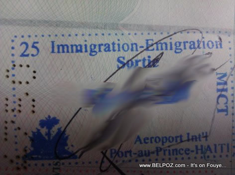 Haitian Passport Immigration Sortie Stamp Port Au Prince Airport