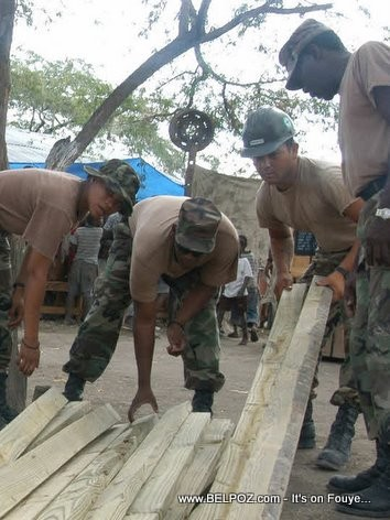 US Soldiers and Marines Building Tents in Gonaives Haiti