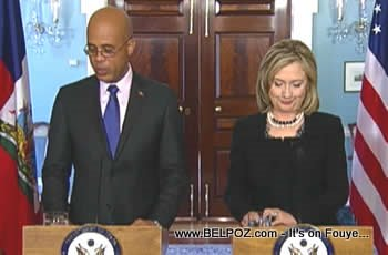 Hillary Clinton And Michel Martelly In Washington DC