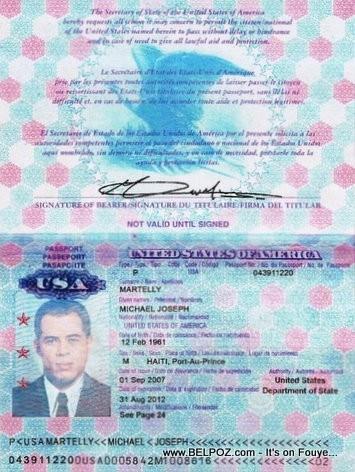 Michel Martelly US Passport